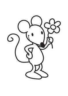 Kleurplaat muis met bloem. Kinderen leren terwijl ze kleuren. Afbeeldingen voor scholen en onderwijs - afb 17571.
