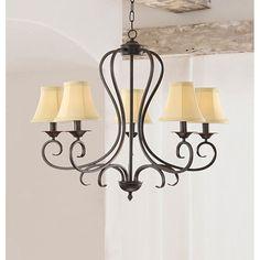 Iron 5-light Chandelier with Beige Shades - Overstock Shopping - Great Deals on Otis Designs Chandeliers & Pendants