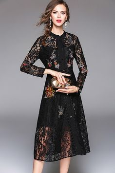 7abcd367023 Black Embroidery Long Sleeves Embroidery Midi Dress Robe Retro Chic