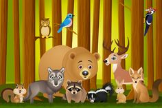 Animals in the Forest - Fototapeter & Tapeter - Photowall