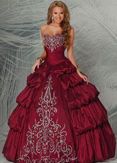 Red Quinceanera dress | Strapless ball gown with rhinestones | Vestidos de Quinceanera | Sweet 15 #quinceanera #quince #sweet15 #vestidos #gown
