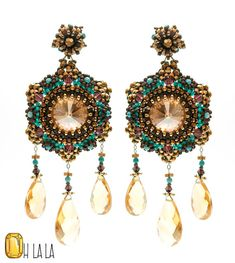 Earrings with Chunky Turquoise, Citrine, Swarovski and Gold Fill, Beaded by Esther Marker