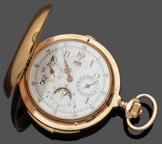 Savonette mit Minutenrepetition und Chronograph sowie Mondphase und Kalender 585er Roségold, gestem