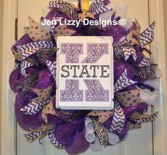 Kansas State University deco mesh wreath; KSU wreath www.facebook.com/jenlizzydesigns Jen Lizzy Designs