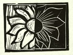 Relief print with lino block of black and white sunflower - A Coffee Talk Saturday Post