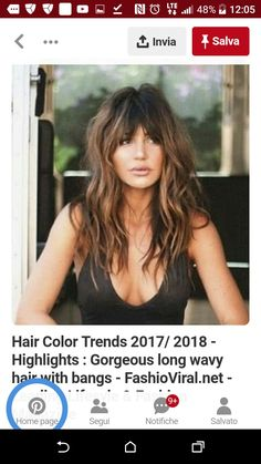 Bangs Haircuts For Long Hair With Bangs, Blonde Bob Hairstyles, Curly Hair With Bangs, Long Wavy Hair, Long Hair Cuts, Pretty Hairstyles, Curly Hair Styles, Bardot Hair, Brunette Hair