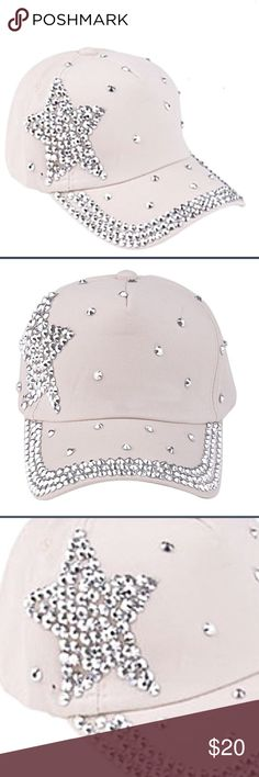 3fae147439c714 NEW Cream Bling Baseball Cap Hat Bedazzled Star NEW Cream Off white Bling  Baseball Cap Hat. New in package Accessories Hats