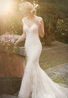 Mermaid Lace Over Satin Wedding Dress | Style D1977 by Essence of Australia |  http://trib.al/SViEmct