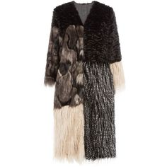 Anna Sui Mixed-Media Faux Fur Coat (28,895 PHP) ❤ liked on Polyvore featuring outerwear, coats, black, imitation fur coats, boho coat, anna sui, fake fur coats and faux fur coat