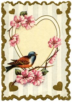Vintage Frame with Small Bird and Pink Flowers