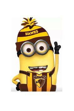 Minions are on the Hawks team yayayya We Are The Mighty, Football Crafts, Cute Minions, Australian Football, Best Football Team, Football Pictures, Digital Stamps, Hawks, Birthday Ideas