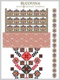Semne Cusute: IA AIDOMA 020 - Bucovina, ROMANIA Folk Embroidery, Cross Stitch Embroidery, Embroidery Patterns, Textile Patterns, Knitting Patterns, Beading Patterns, Cross Stitch Patterns, Embroidery Techniques, Pixel Art