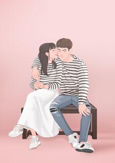 Cute Couple Art, Cute Couples, Couple Painting, Art Images, Couple Goals, Fanfiction, Kdrama, Fashion Art, Boy Or Girl