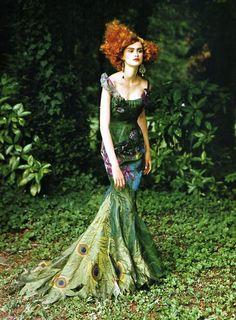 Galliano printed gown, fashion editorial