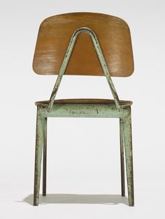Enameled Steel and Plywood Child's Chair, Cool Furniture, Modern Furniture, Furniture Design, Jean Prouve, Chaise Chair, Colani, Love Chair, Metal Chairs, Miniature Furniture