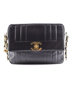 Chanel Black Caviar Leather Shoulder Bag.
