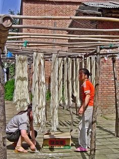 Drying Noodles, Old Xian Village, China