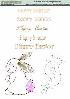 Easter Card Stitching Patterns on Craftsuprint designed by Sarah Edwards - Sheet contains a dove, bunny and 5 'Happy Easter' sentiments - Now available for download!