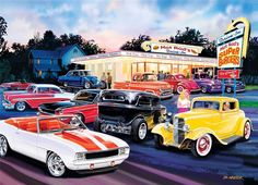 Masterpieces Cruisin Hot Rod's Drive In Cars Jigsaw Puzzle 1000 pc