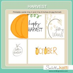 Free Harvest Journal Cards from Smitha Katti