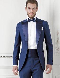 New Fashion Style One Button Blue Groom Tuxedos Groomsmen Men's Wedding Prom Suits Bridegroom (Jacket+Pants+Girdle+Tie) K:1046