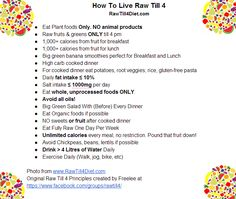 Post this downloadable Raw Till 4 principles and post on your fridge  http://rawtill4diet.com/raw-till-4-principles/