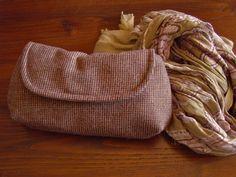 Burgundy Plaid Tweed Winter Clutch