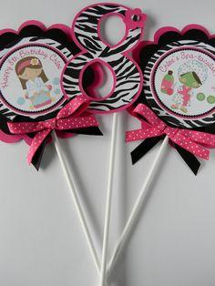 3 Spa Girls Hot Pink Zebra Birthday Party  by sweetheartpartyshop, $8.00