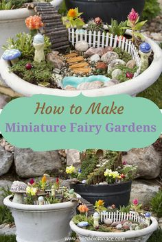 Let your imagination soar by learning how to make miniature fairy gardens! Fairy gardens are exactly what they sound like; miniature gardens with fairy figures, plants, and accents. They are SO easy to put together, allow you to be as inventive as you want, and will become an engaging family activity. Whether you want to make fairy garden terrariums with your kids this summer, or make a tropical fairy garden for your yard, creating one can be a fun way to spend a weekend. via @edibleterrace