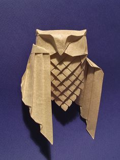 rough draft, a few more pleats and a different head. From a triangle of grainy paper, a very nice paper that I've rather mangled here! Origami And Kirigami, Paper Crafts Origami, Oragami, Origami Art, Origami Lotus Flower, Paper Owls, Origami Design, Owl Art, Paper Folding