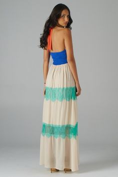Lace Top with Embroidered Waist Halter Maxi Dress
