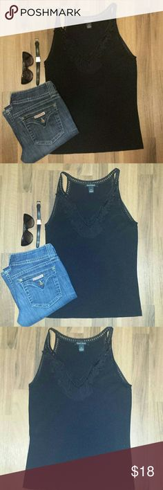 {WHBM} Black Tank Top Perfect condition! This top is beautiful and looks Soooooo good with your Summertime tan and tight jeans. It is a true deep black color with no fading or signs of wear. Fabric: 77% Rayon & 23% Nylon.  Measurements: Length 25, Bust 16 & Waist 16 1/2. White House Black Market Tops Tank Tops
