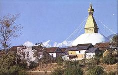 Vintage Nepal ~ Rare Old Pictures, Videos and Arts of Nepal  Boudhanath Stupa, Kathmandu | Postcard c. 1960s-70s | Collection: Vintage Nepal | Publisher/Credit: Shanker Hotel, Kathmandu