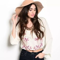 "HP 11/19Cream wine embroidered crop top Condition: NEW  Brand: JEALOUS TOMATO from ANTHROPOLOGIE Semi sheer cropped floral embroidered flared long sleeve top. Material: 100% Polyester measurements: Chest 37"", Length 19"" new without tags Anthropologie Tops Crop Tops"