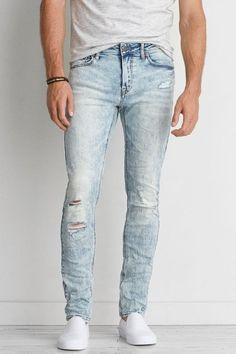 AEO Extreme Flex Skinny Jeans, Men's, Size: 32x36, Light Destroy Wash