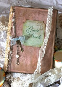 Wedding guest book vintage shabby chic by youruniquescrapbook