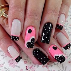 Pink black white polka dot