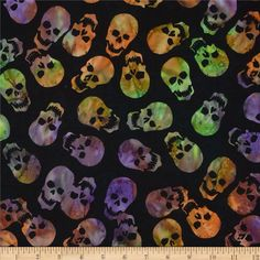 Timeless Treasures Tonga Batiks Haunted Skulls Spooky from @fabricdotcom  Designed by Timeless Treasures, this cotton batik fabric is perfect for quilting, apparel and home decor accents. Colors include shades of green, purple, orange, and white on a black background.