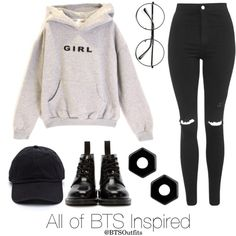 All of BTS Inspired Outfit by btsoutfits on Polyvore featuring Topshop, Dr. Martens, Marc by Marc Jacobs and Retrò