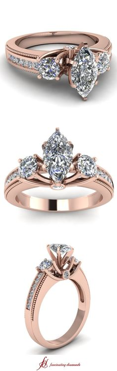 Milgrain Pattern Ring ||  Marquise Shaped Diamond Side Stone Ring With White Diamond In 14K Rose Gold