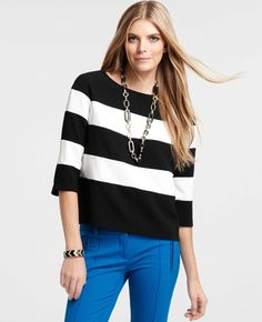 Striped Pullover Top Over Black Dress (not these pants)
