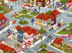 A town scene - describe this picture Teaching French, Teaching Spanish, Drawing For Kids, Art For Kids, Conversation Images, English Creative Writing, Art Corner, Language Development, English Lessons