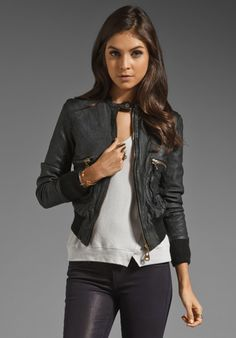 DOMA Leather Bomber Jacket in Black at Revolve Clothing - Free Shipping!
