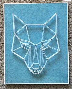 Geometric Wolf Head String Art, Decoupaged Wood, One of a Kind,  Teal, Mod Podge, Wall Hanging, Home Decor