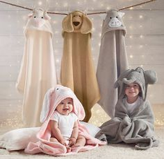 RH Baby & Child's Animal Hooded Towel & Bath Mitt - Child:With faces sewn to resemble a cast of beloved critters, our cozy hooded towels and mitts make bath time all the more fun. Cute Babies, Baby Kids, Baby Boy, Rh Baby, Towel Animals, Hooded Bath Towels, Baby Hooded Towel, Kids Clothing Brands, Baby Towel