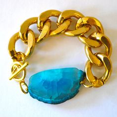 Image of Chunky Gold Chain Link Bracelet with Cyan Agate