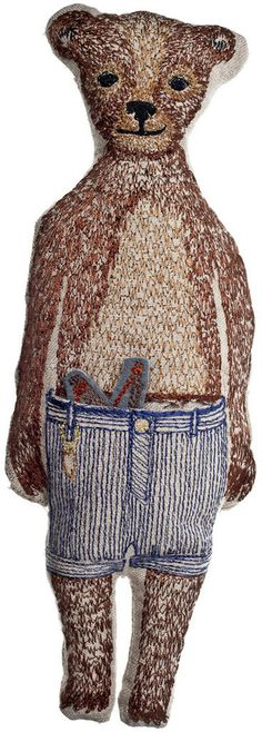 embroidered bear pocket doll by Coral & Tusk. He has a slingshot in his pocket - so cute.