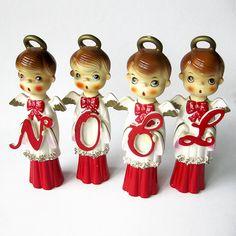 RARE Vintage Christmas NOEL Set / Mid Century Big Eyes Choir Boy Angel Figurines / Chase Japan / Angel Halo / Spaghetti Trim / Script Noel