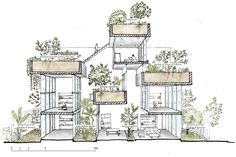 Sustainable architecture, green building and green architecture projects. Architecture Graphics, Green Architecture, Architecture Drawings, Sustainable Architecture, Architecture Design, Architecture Student, Sections Architecture, Geometry Architecture, Computer Architecture