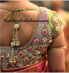 Magnificent Stone Work Wedding Blouse – A dazzling blouse to add shine and glamour to your wedding silk saree! This silk blouse has beautifully crafted heavy intricate stone work and kundan Stone Work Blouse, Aari Work Blouse, Saree Blouse Patterns, Saree Blouse Designs, Sari Blouse, Indian Blouse, Blouse Neck, Indian Wear, Sari Dress